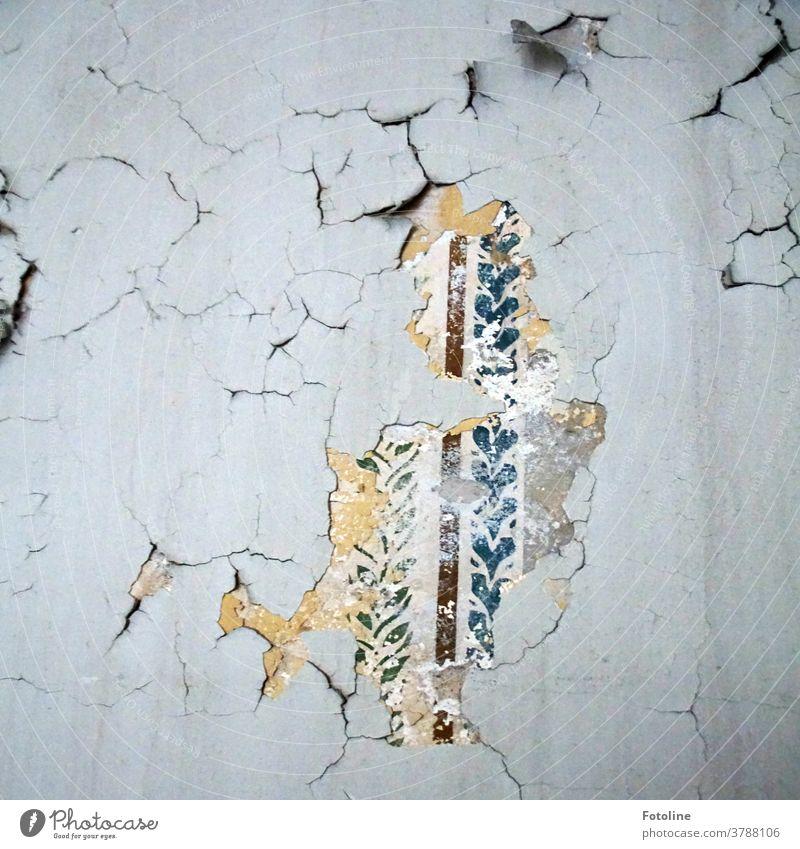 Ein kleiner Tapetenrest an einer Wand zeugt von vergangenem Glanz an einer bröckelnden Wand in einem Lost Place lost places alt Farbfoto Menschenleer