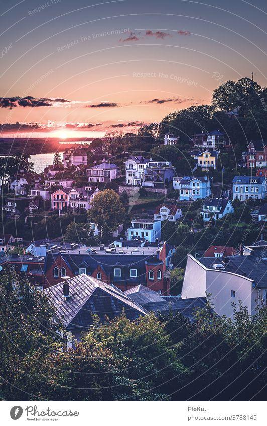 Treppenviertel in Blankenese bei Sonnenuntergang Hamburg gebäude architektur Sightseeing tourismus stadt wohnen sonnenuntergang landschaft sonnenlicht sommer