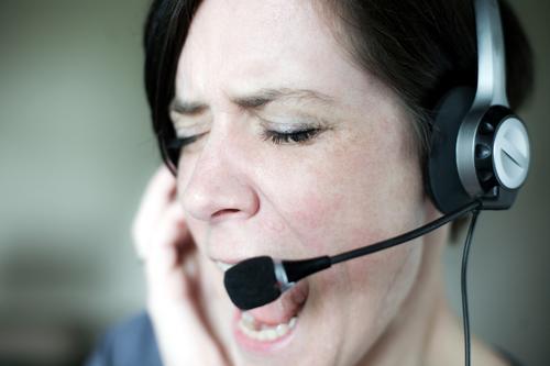Karaoke Mensch Frau Erwachsene Gesicht Leben Gefühle sprechen Büro Kommunizieren Telekommunikation Technik & Technologie Wut Dienstleistungsgewerbe
