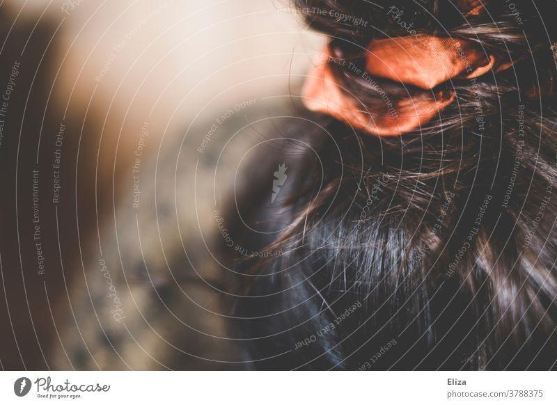 Braune Haare mit kupferfarbenem Zopfgummi und Dutt. Frisur. Scrunchie Kopf Frau braun braune Haare Haare & Frisuren feminin brünett glänzend