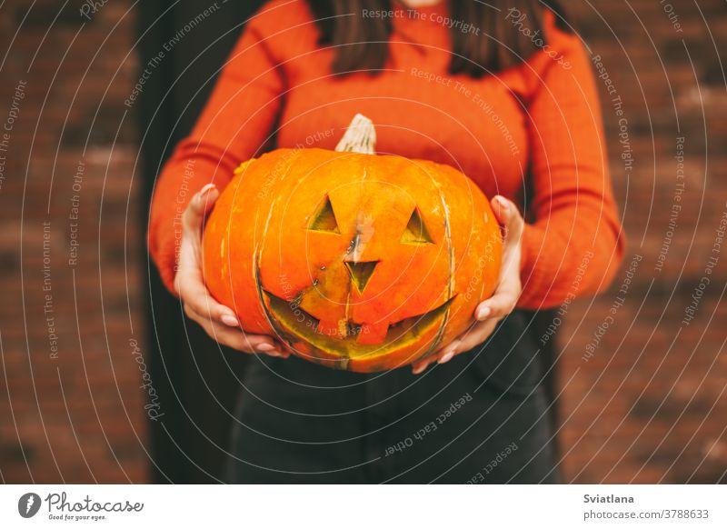 Ein großer Kürbis in den Händen eines Mädchens zu Halloween. Nahaufnahme. Herbst Straße Feiertag Laterne zusammenstellen schwarz erschrecken Gesicht Bild