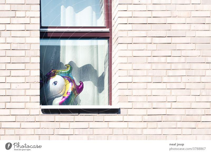 Backsteinfassade mit Fenster und Einhorn Ballon Fassade Wohnhaus Haus Häusliches Leben Mehrfamilienhaus Wand Mauer Wohnen Neubau Zuhause Textfreiraum rechts