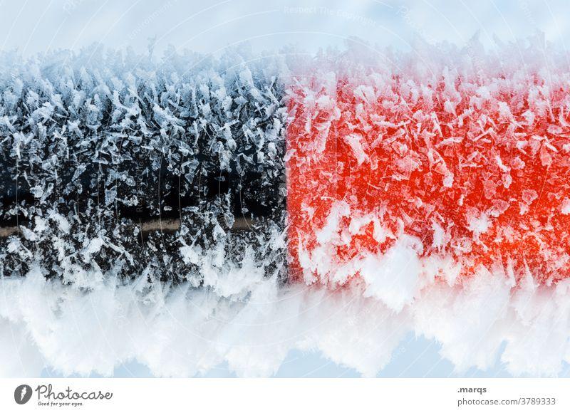 Schwarzrot friert anode kathode Eis Frost Kälte Winter schwarz Schnee gefroren kalt Eiskristall frieren