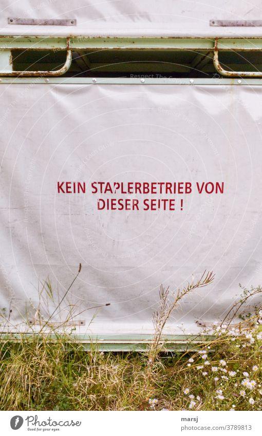 Plane mit der Aufschrift: Kein Staplerbetrieb von dieser Seite Schrift rot Abdeckung Schutz Kunststoff sicherheit begrünt Unkraut Warnhinweis