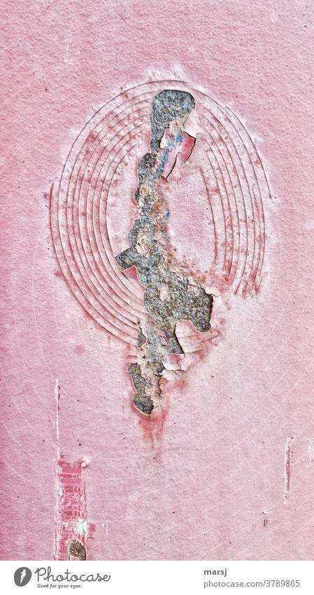 Geplatzte rote Farblackierung abgeblätterte Farbe geplatzt Metall Verfall kaputt Wandel & Veränderung abblättern Lack Zerstörung Verletzung alt Rost Riss