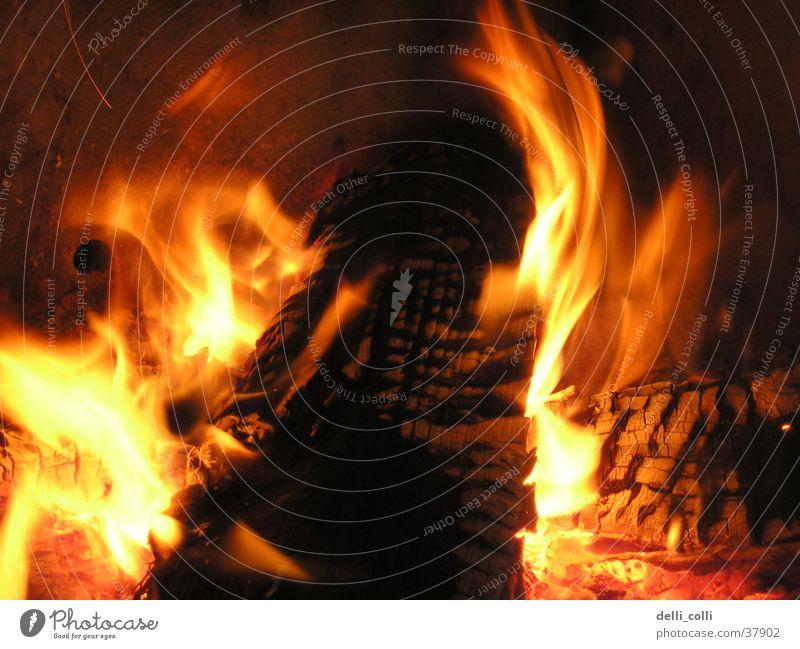 leidenschaftliches Kaminfeuer Holz Häusliches Leben Romantik Brand Wohnzimmer Flamme Glut Holzkohle Desaster Kohle züngeln