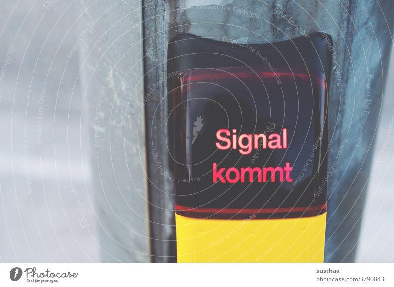 signal kommt Buchstaben Wort Straßenkreuzung Signal gelbes Kästchen Signalmast Straßenverkehr Verkehrswege Stadtverkehr warten rote Ampel Fußgängerübergang