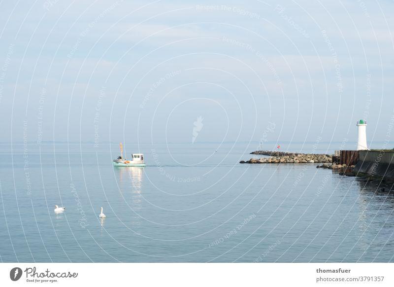 Fischerboot fährt bei Windstille aus dem Hafen zum Fang. Mole Leuchtturm Sommer Horizont Außenaufnahme Wasser Himmel Wolken Meer Küste Ostsee Schifffahrt