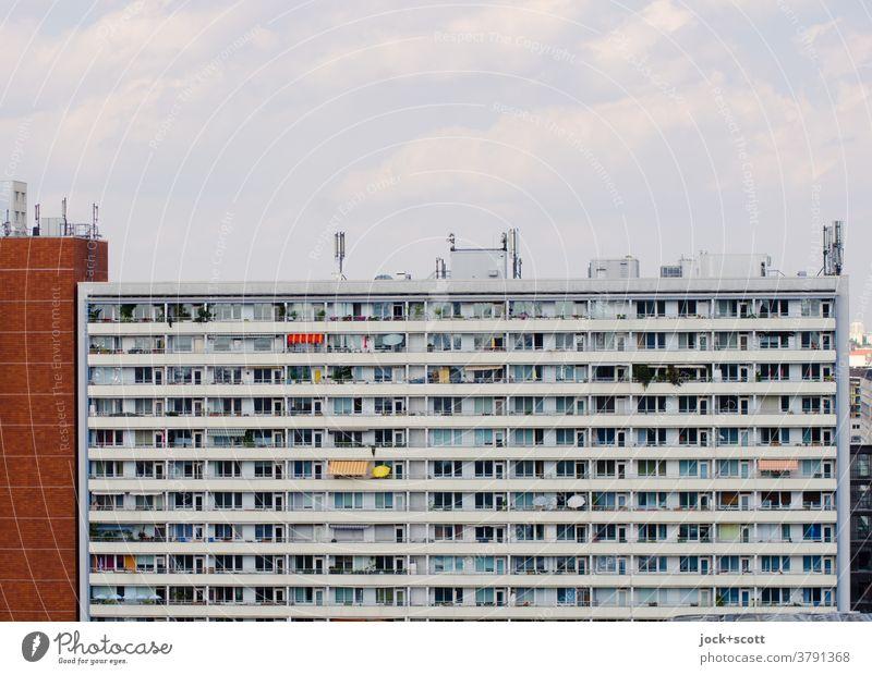 in hässlichen Häusern läßt sich schön wohnen Plattenbau Fassade authentisch Stadtzentrum Berlin-Mitte Sommer Stil Stadthaus groß eckig retro lang hoch Stimmung