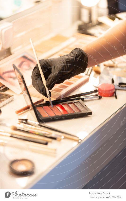 Crop Make-up Artist beim Auftragen von Kosmetikprodukten Künstler Gesicht visagiste bewerben Lippenstift Palette Produkt professionell Handschuh Latex behüten