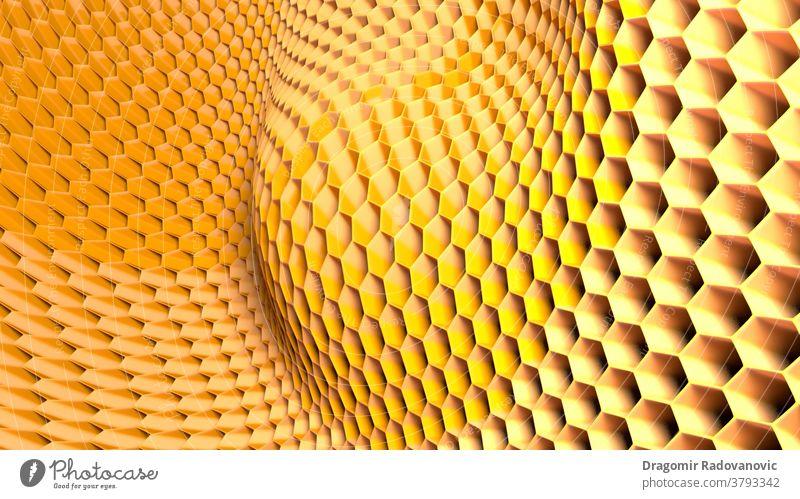 3d-Abbildung einer hexagonalen abstrakten Wabenstruktur. 3d-Rendering 3D-Darstellung 3D-Rendering Honekombe Licht Kunst Hintergrund Transparente Bienen