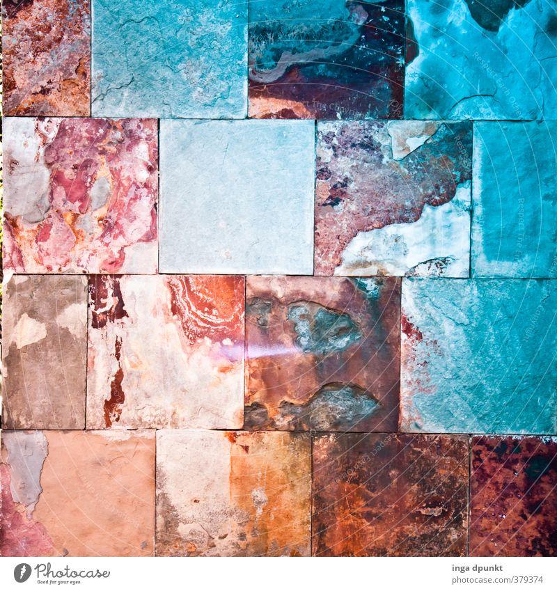 Bunte Wand Haus Bauwerk Gebäude Architektur Mauer Hauswand außergewöhnlich eckig blau mehrfarbig orange Kreativität Reichtum bauen Mosaik Muster