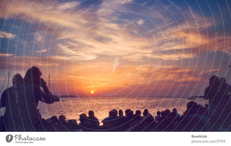 Cafe del Mar Ibiza Ferien & Urlaub & Reisen Strand Sonnenuntergang Meer Europa