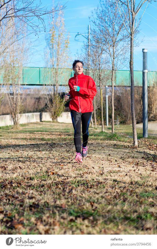 Frontansicht eines Fitness-Mädchens beim Lauftraining im Morgenpark Übung Joggen Park rennen Frau Natur Läufer Jogger Lifestyle 1 Sport Person Training joggen