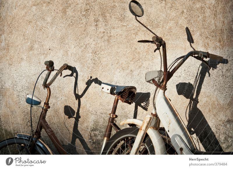 Gemeinsam rosten (II) alt schön weiß Einsamkeit Haus Wand Mauer Gebäude Paar braun Zusammensein Fahrrad trist warten paarweise ästhetisch