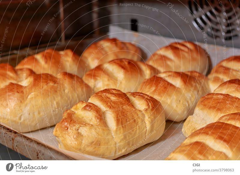 Milchbrot, das nach traditioneller Art auf einem Backblech gebacken wird Brot Lebensmittel melken Bäckerei Gesundheit Frühstück Weizen Brotlaib Brötchen Gebäck