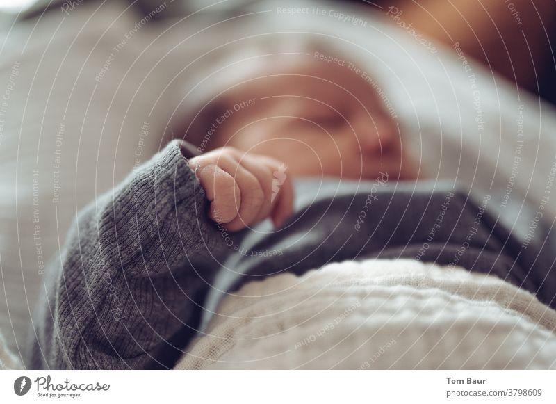 Schlafendes Neugeborenes die Hand im Vordergrund im Fokus, das Gesicht in der Unschärfe der Tiefe Baby säugling Kind Kindheit neugeboren Familie bezaubernd
