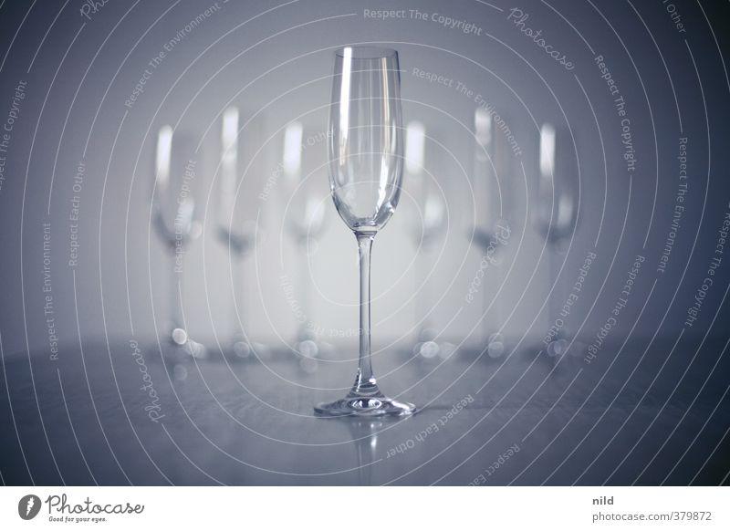 Sektempfang blau kalt Stil grau Feste & Feiern Design elegant Glas Veranstaltung Mitte Alkohol 7 Vignettierung Champagner Prosecco