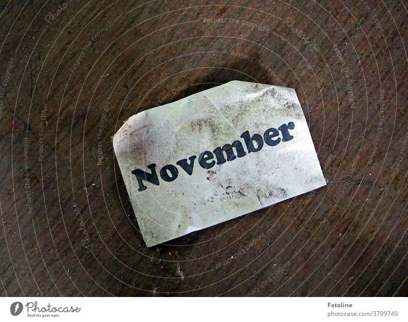 Hallo November - oder auf dem Boden liegt ein Zettel mit der Aufschrift November Monat Blatt Schrift Buchstaben Schriftzeichen Wort Text Menschenleer