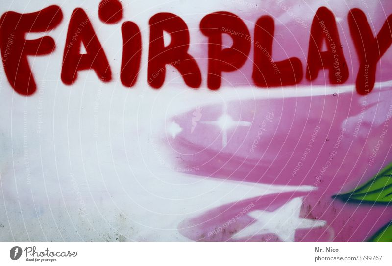 Fairplay Mauer Wand Fair Play Politik & Staat Fassade Graffiti rot Gefühle weiß Fairness Stern Schriftzeichen Subkultur Kunst Jugendkultur Gerechtigkeit