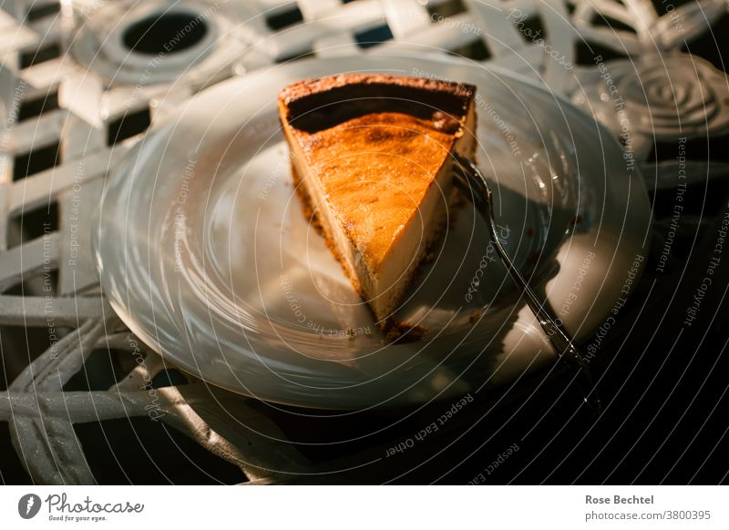Ein Stück Käsekuchen Kuchen Dessert backen lecker Lebensmittel süß geschmackvoll frisch