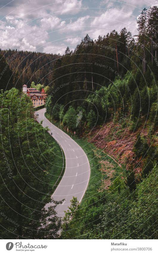 Eine Straße schlängelt sich durch den Wald im Schwarzwald Natur Landschaft Transportwege Farbfoto Von onen Nach unten Mood Außenaufnahme Bäume Tal Berge Tag