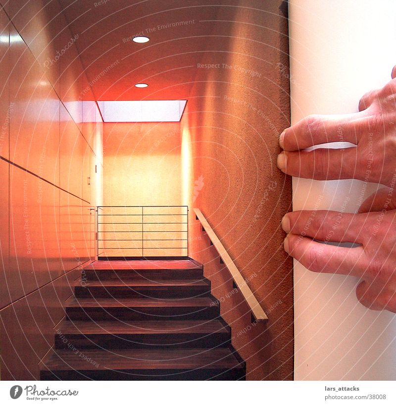 Fingerraum Stil Raum orange Fotografie Architektur Design Perspektive Treppe modern Nagel Linse Trick