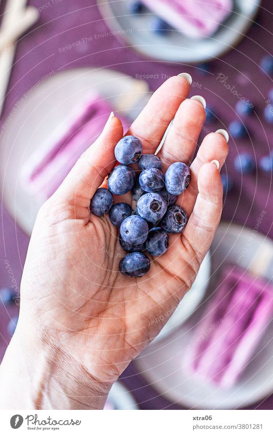 Blaubeeren Beeren Hand Eis eis am stiel Frucht Lebensmittel Foodfotografie Erfrischung Gesunde Ernährung lecker köstlich Obst Farbfoto Speiseeis Dessert süß