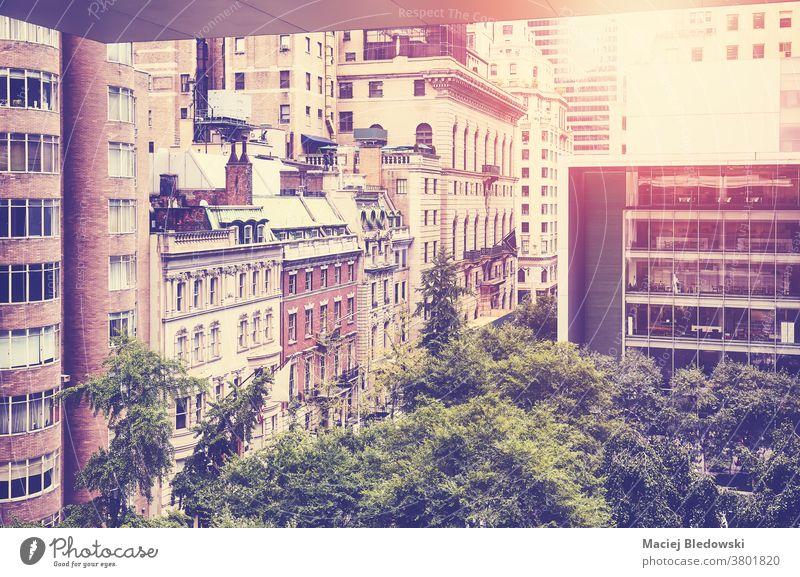 New York vielfältige Architektur bei Sonnenuntergang, USA. Großstadt retro New York State Gebäude Büro Manhattan Appartement Haus nyc gefiltert Wolkenkratzer