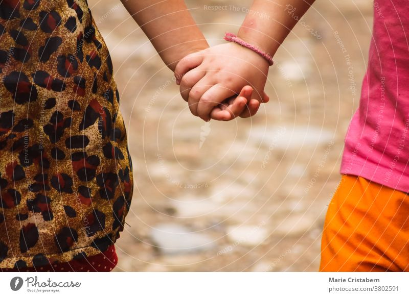 Nahaufnahme von Kindern, die Händchen halten Tag Kinderbetreuung Symbol Hand in Hand Freunde Freude Einheit Unschuld Sommerzeit Sicherheit schön Fröhlichkeit