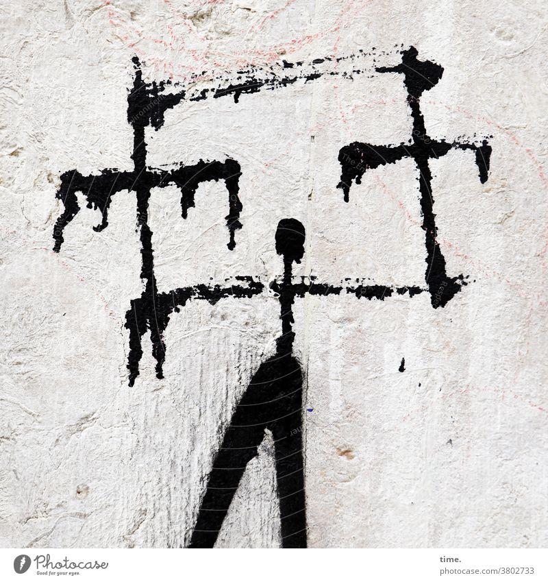 Kunst am Bau   Notenständer (headstrong version) grafitti mauer wand alt trashig schwarz farbe gepinselt fabrverlauf zeichnung gemälde