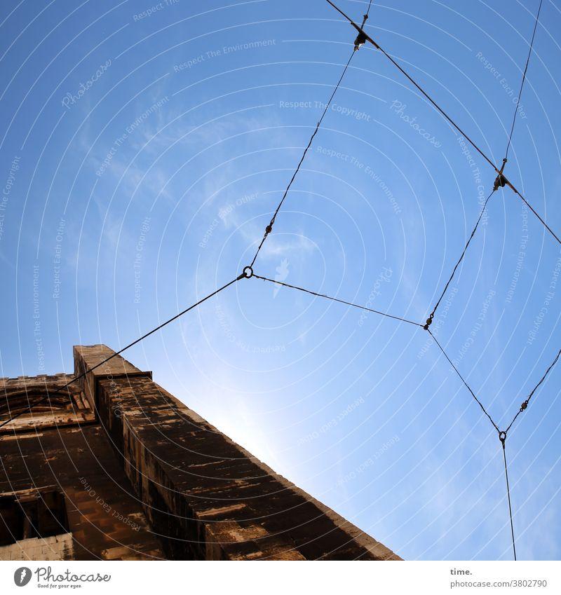 Halswirbelsäulentraining (36) haus himmel stromleitung oberleitung mauer alt historisch Schönes Wetter sonnig altbau leicht schwer draht verbindung verknüpfung