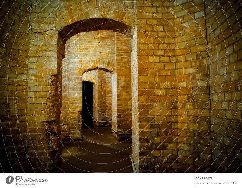 einfach geradeaus zwischen alten Mauern Bauwerk Architektur Raum Backstein historisch Gewölbe Strukturen & Formen Gang Gemäuer Untergrund verwittert Durchgang