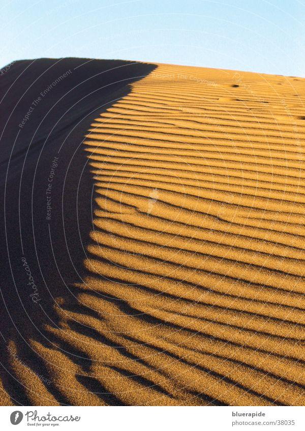 Sanddüne Himmel rot Ferien & Urlaub & Reisen gelb Sand Linie Wellen Wüste