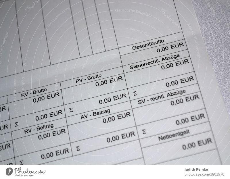 Lohnzettel Lohnabrechnung Null Euro Corona kein Verdienst ohne Arbeit Leben in der Krise