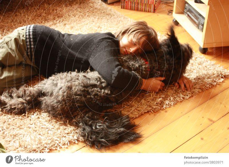 Junge liegt mit einem Hund auf einem Teppich Haustier Zärtlichkeit kuscheln Kindheit nähe Bindung Freundschaft Hundeliebe Mensch und Tier gemeinsam erleben