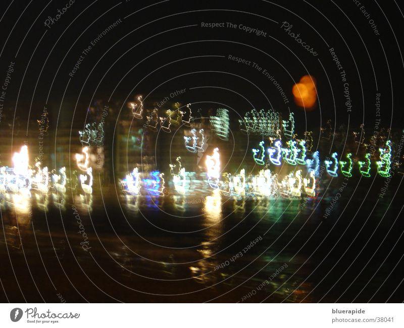 Stadt bei Vollmond Meer Küste schwarz dunkel Reflexion & Spiegelung Oberfläche Langzeitbelichtung Licht Mond Farbe Lampe
