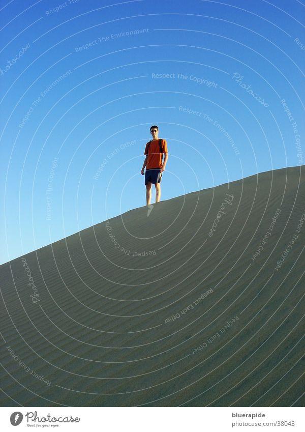 Auf der Düne stehn Mensch Mann Himmel blau oben Sand klein Aussicht stehen Wüste Stranddüne
