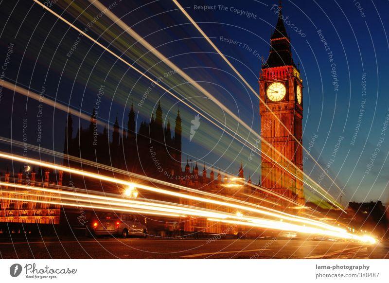 Nightlines Nachthimmel London England Europa Stadt Hauptstadt Stadtzentrum Palast Turm Architektur Sehenswürdigkeit Wahrzeichen Big Ben Houses of Parliament