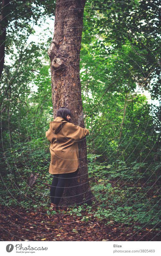 Eine junge Frau steht im Wald und umarmt einen Baum. Naturschutz und Umweltschutz. umarmen Naturliebe naturnah Öko Ruhe naturverbunden grün Herbst Baumstamm