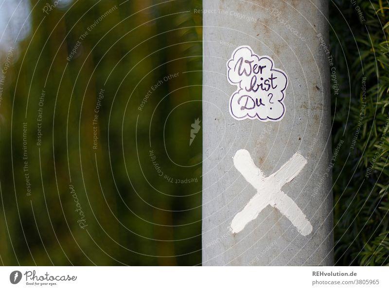 Sticker  - Wer bist Du Identität Aufkleber streetart Laternenpfahl Kreuz x grün Natur Individualität Frage worte Text kleben hinterfragen Zweifel kritisch