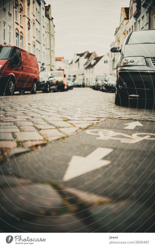 In einer Stadt auf dem Fahrradweg stehen viele Autos und versperren den Fahrradfahrern den Weg versperrt Verkehrswege Sperre Autofahrer rücksichtslos eng