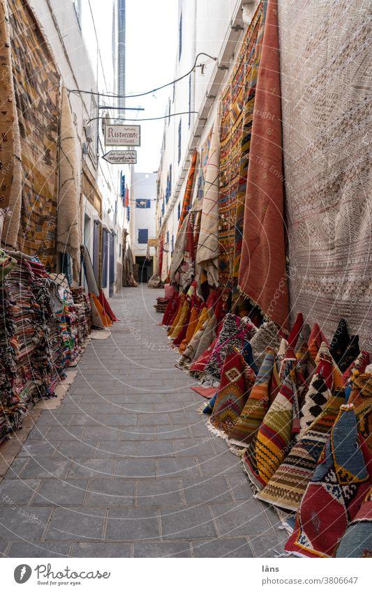 Gasse der Teppichhändler Marokko kaufen Verkauf Ferien & Urlaub & Reisen Orientalisch Gebäude Magreb Medina Essaouira maroc Handel & Verkauf