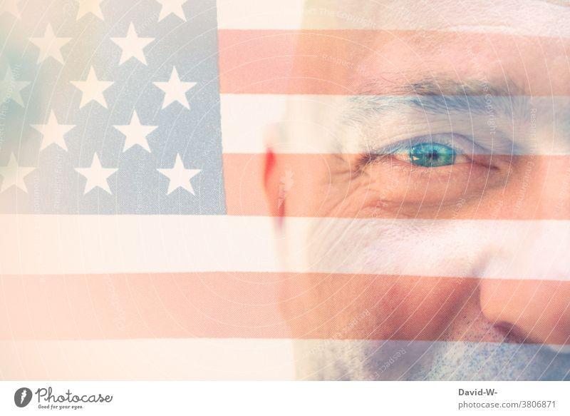 USA - Mann - Stolz und Patriotisch Patriotin Amerikaner Gesicht Patriotismus Flagge fahne
