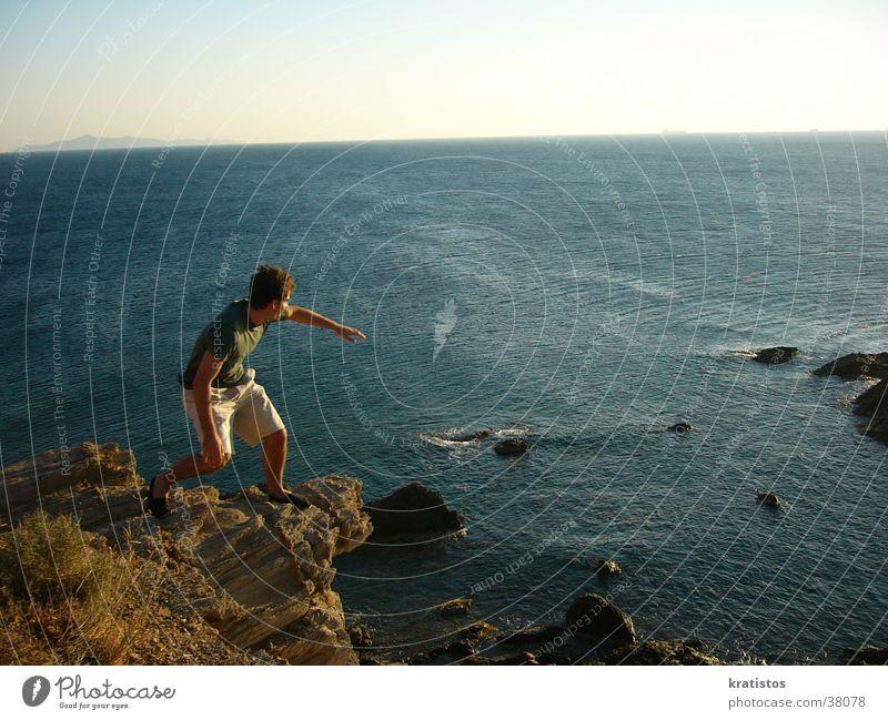 Der Franzose Beim Klippensurfen Meer Europa Griechenland Franzosen