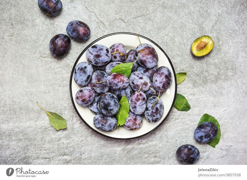 Reife blaue Pflaumen auf einem Teller reif Frucht organisch süß Lebensmittel Gesundheit Frische frisch Herbst purpur lecker Vegetarier roh Natur Sommer Dessert
