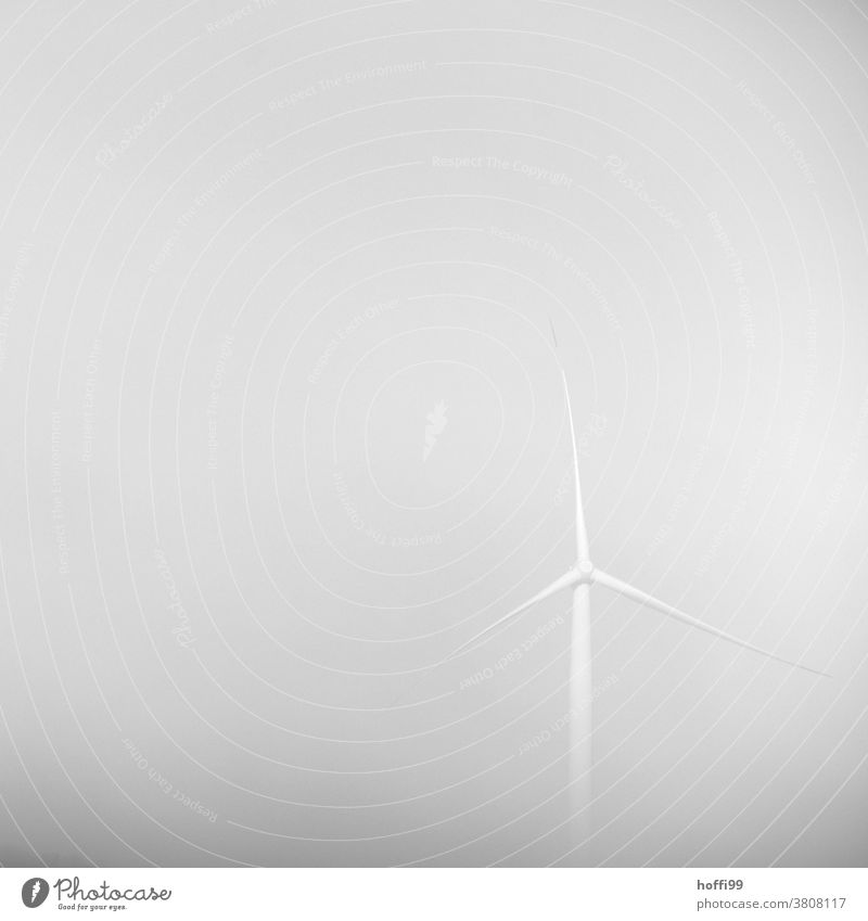 Windrad im Nebel Nebelstimmung Nebelschleier trist Industriekultur grau Industriefotografie Hochspannungsleitung Fortschritt Windkraftanlage Himmel modern Turm