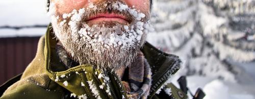 Nahaufnahme eines Bartes mit viel Eis, Skandinavien Mensch Natur Ferien & Urlaub & Reisen Einsamkeit Winter Ferne kalt Schnee Freiheit natürlich außergewöhnlich