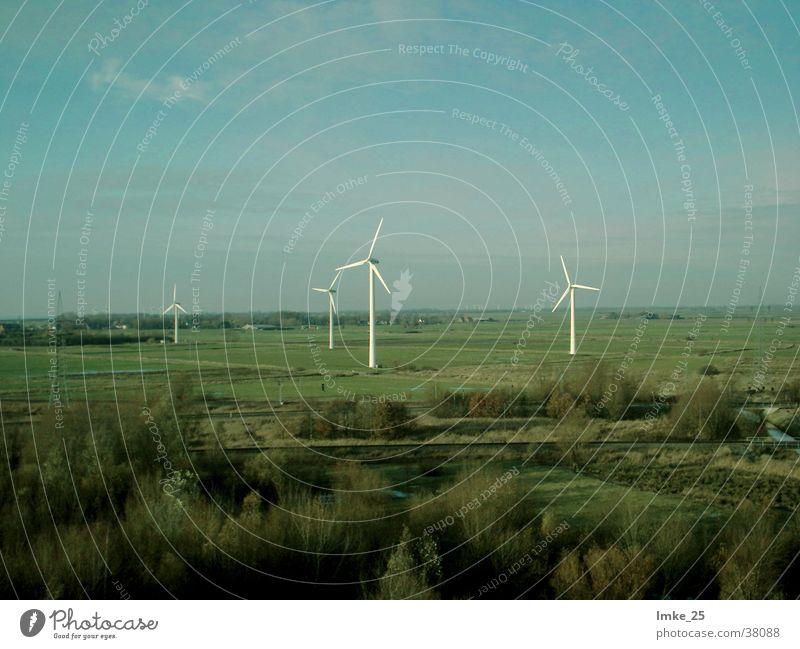 Windpark Windkraftanlage Mühle Wiese Wissenschaften Himmel Landschaft