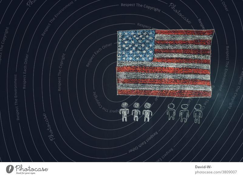 Rassismus in Amerika / USA Flagge Menschen ungerechtigkeit diskriminierung Hautfarbe Politik & Staat Menschlichkeit